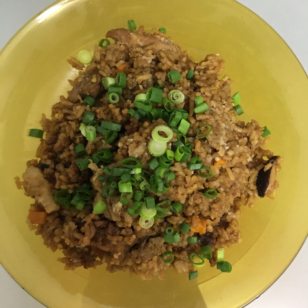 May 1st, 20 - one pot yam rice with dried shrimps, chinese sausage, carrots, mushrooms and pork.
