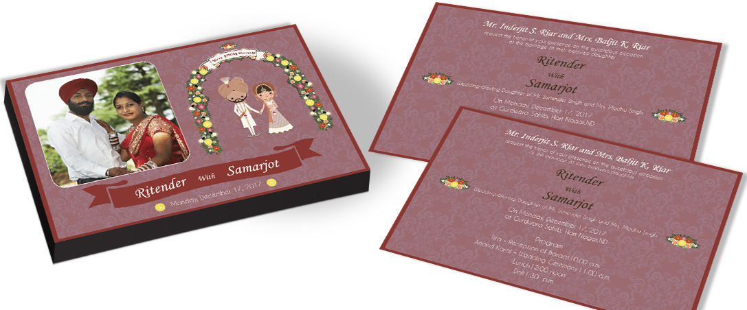 Picturised Wedding invitation for Sikh community