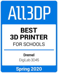Image of All3DP award logo for Best 3D Printer for Schools
