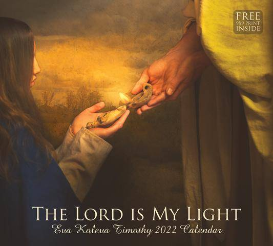 2022 Calendar featuring a painting of Jesus lighting a young woman's lamp with His own lamp.