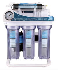 Bluonics 100 GPD 6 Stages Reverse Osmosis with Ultraviolet UV Undersink RO Booster Pump High Capacity