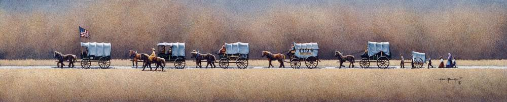 A train of pioneer wagons crossing the plains.