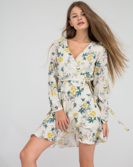 Платье в цветочный принт, натуральная ткань