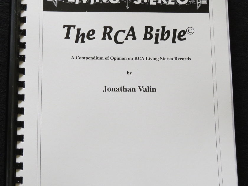 """Jonathan Valin - """"Living Stereo:  The RCA Bible, A Compendium of Opinion on RCA Living Stereo Records"""" Book"""