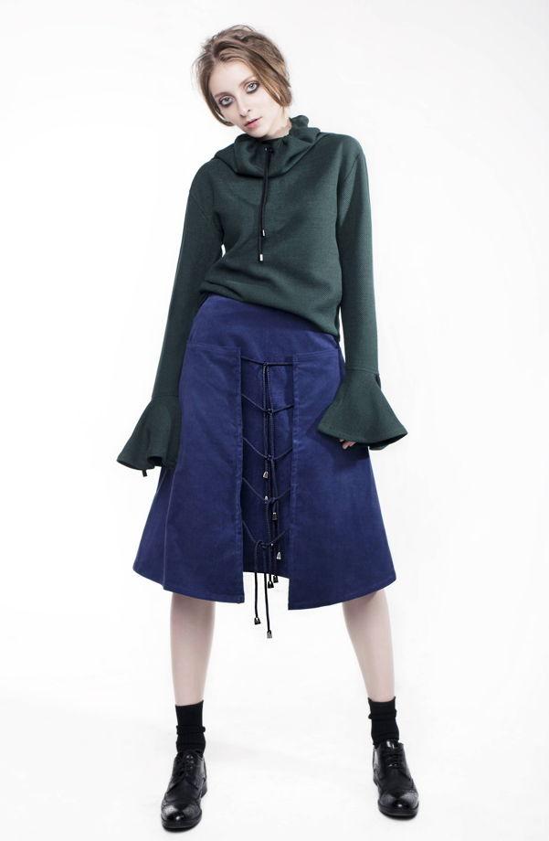 Двойная юбка на завязках из вельвета