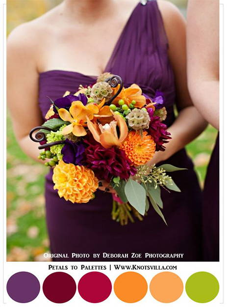 summer reds oranges and greens wedding inspiration