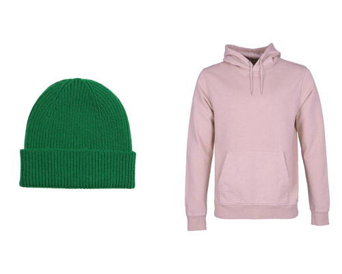 Colorful Standard bright green beanie hat and dusty pink organic cotton hoodie