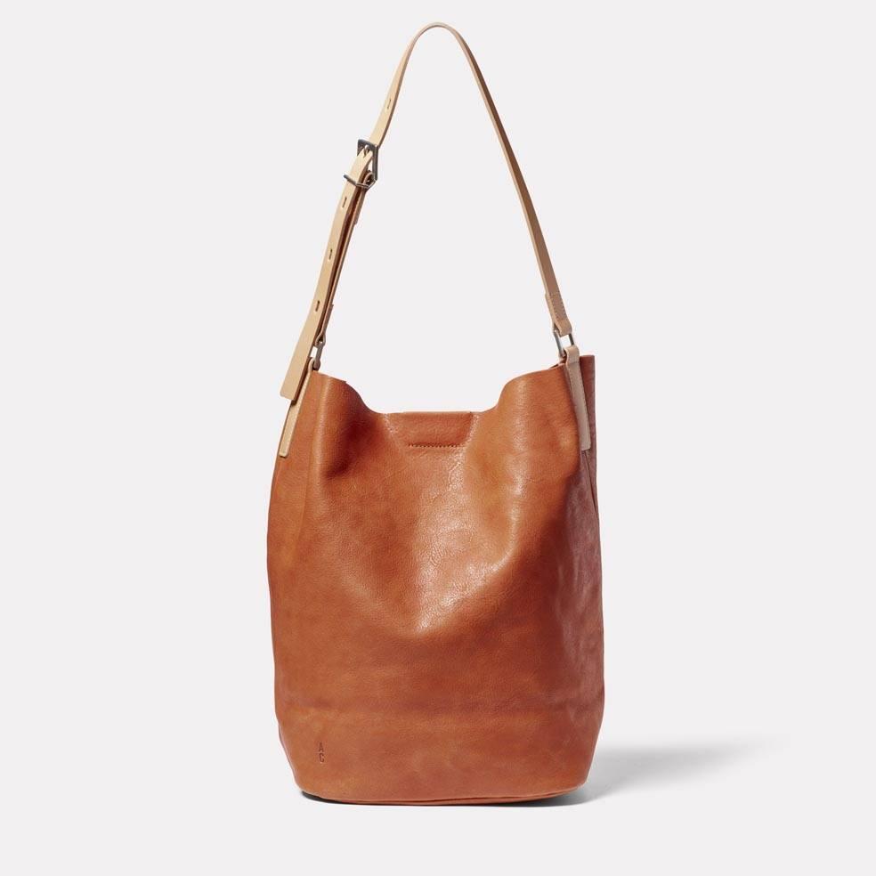 Lloyd Calvert Leather Bucket Bag in Tan