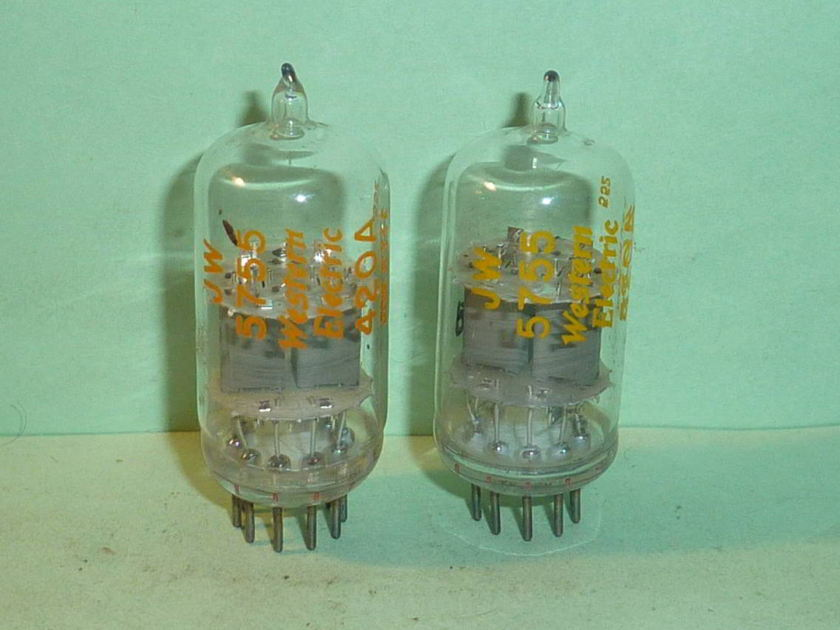 Western Electric 5755 420A Clear Top Tubes, Matched Pair, Test NOS, Matched Date Codes