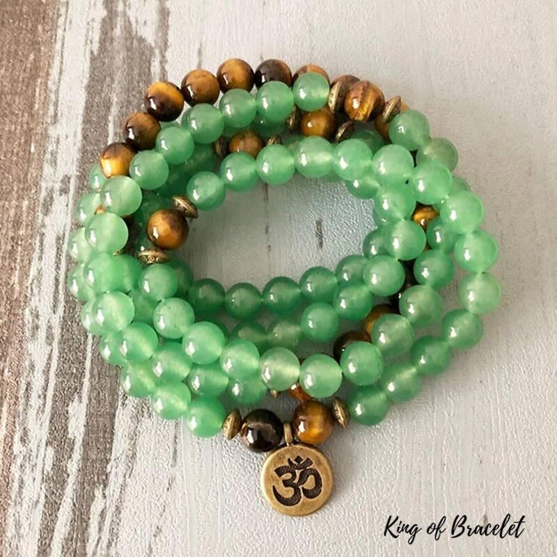 Bracelet Mala 108 Perles en Aventurine et Oeil de Tigre - King of Bracelet