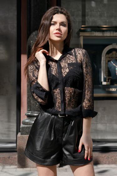 Чёрная удлинённая рубашка MurMur из шёлка