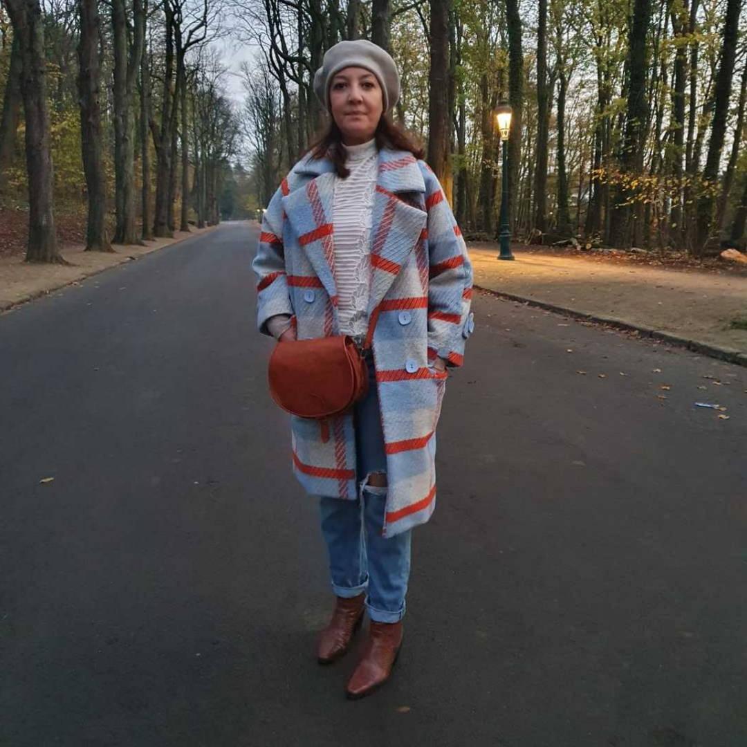 Manteau long femme a carreaux