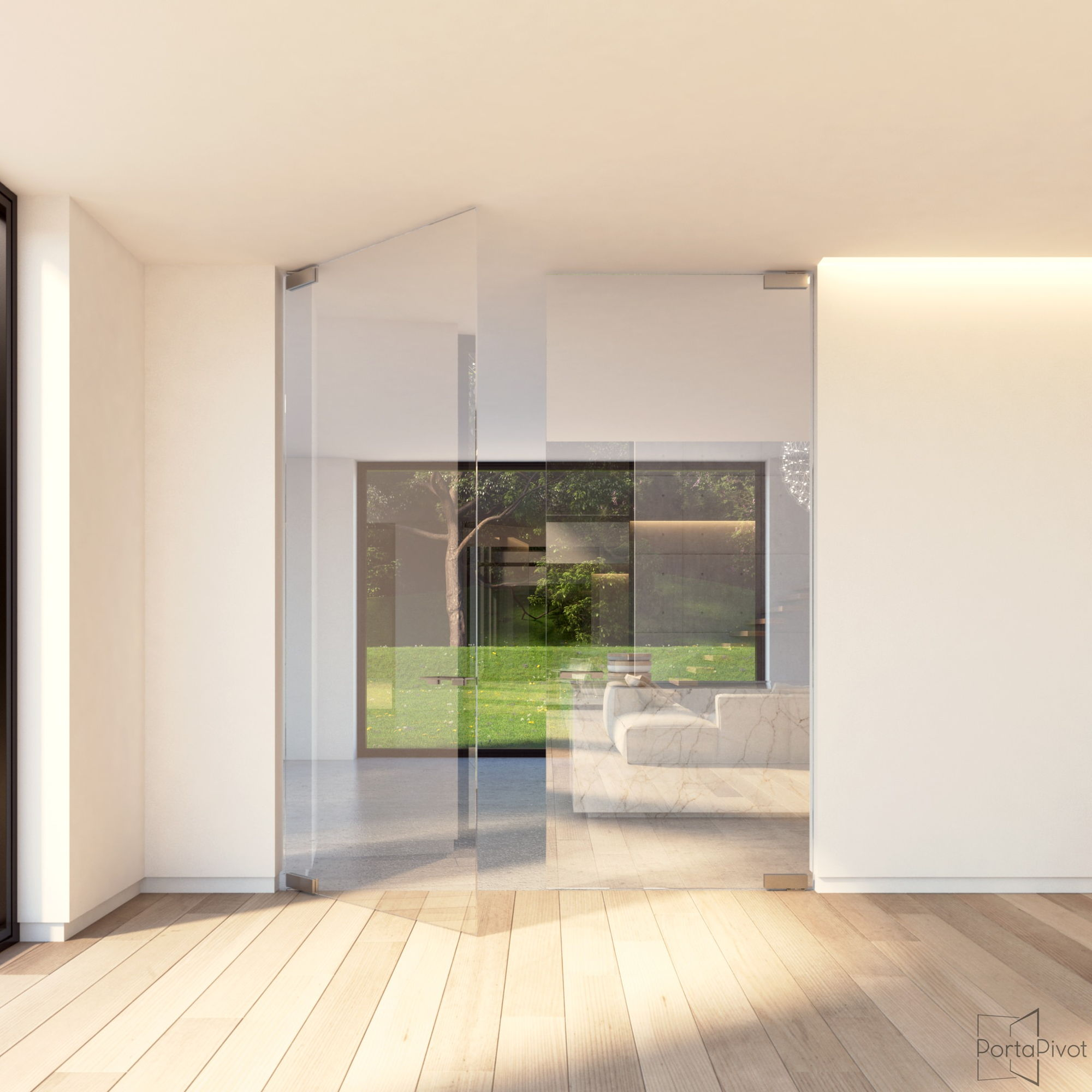 double glass pivot door with elegant glass patch fittings