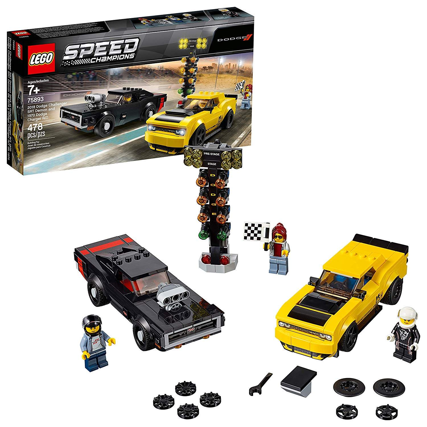 LEGO 75893: 2018 Dodge Challenger SRT Demon and 1970 Dodge Charger R/T
