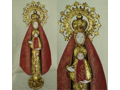 Blessed Virgin Mary and Child Burgundy and  Gold Statue