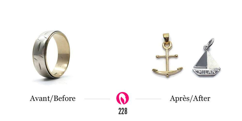 Recyclage d'un jonc deux tons en deux pendentifs ancre et bateau