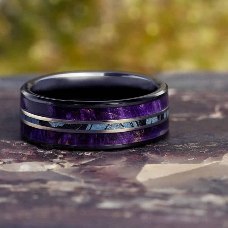 MOKUME WEDDING BAND WITH PURPLE BOX ELDER, BLACK CERAMIC RING