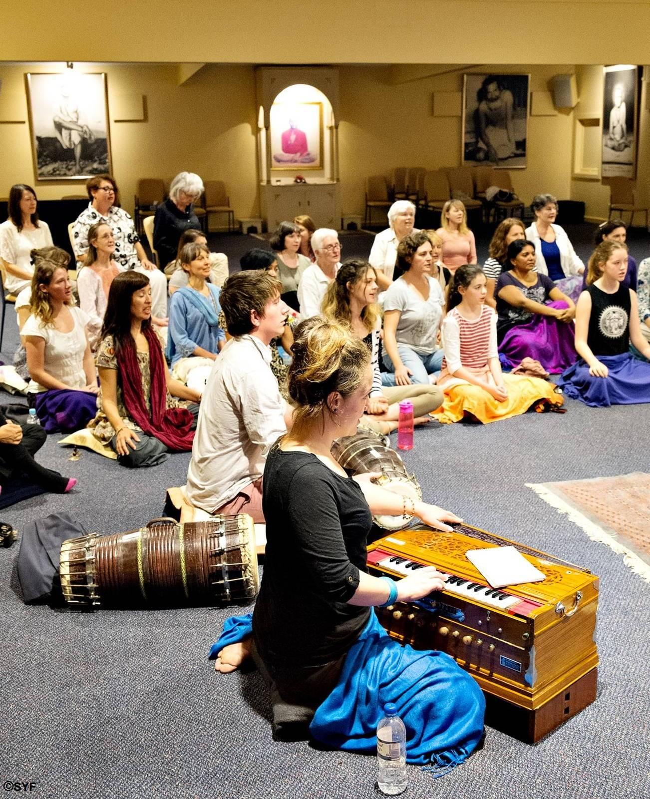 Chanting group in Melbourne Ashram Hall
