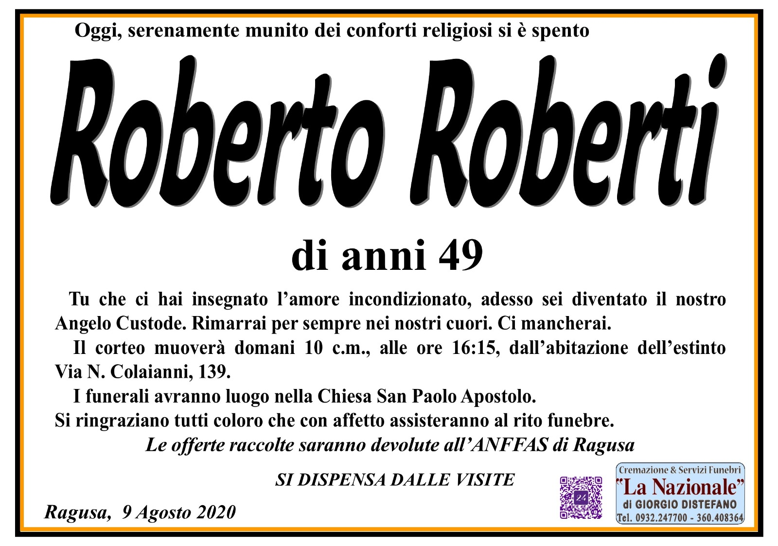 Funerali E Annunci Funebri A Ragusa Roberto Roberti Funer24