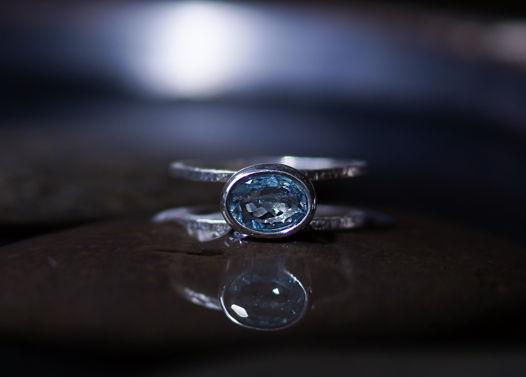 Серебряное кольцо с натуральным аквамарином.