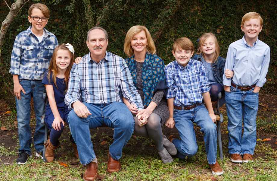 Franchise Owners of Primrose School Michael and Lou Ann McLaughlin with their family