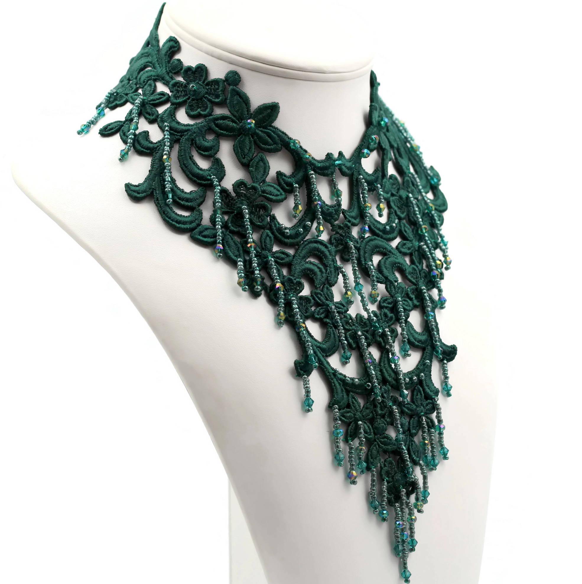 beaded dark green lace collar necklace bib