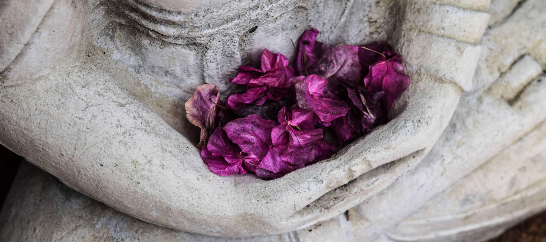 spiritual statue leaves