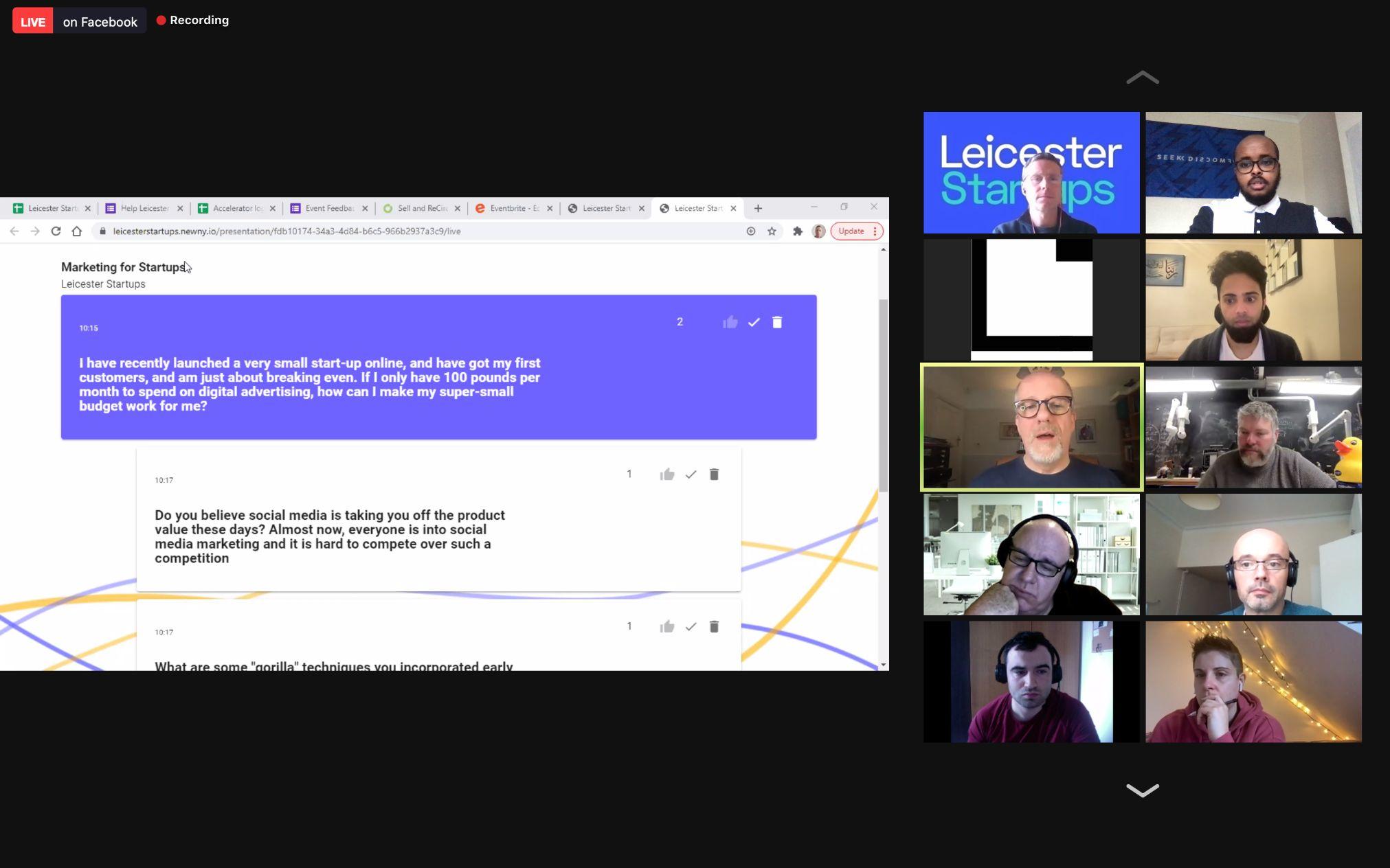 Leicester Startups Zoom Webinar