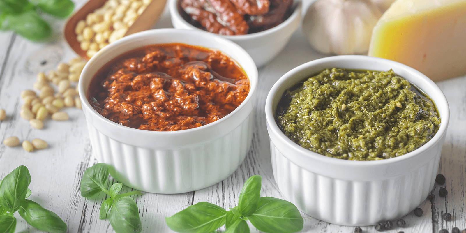 Red pesto and green pesto