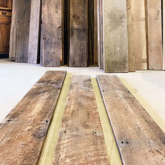 "Wide barn wood boards, 1""x material, brown and circle sawn"