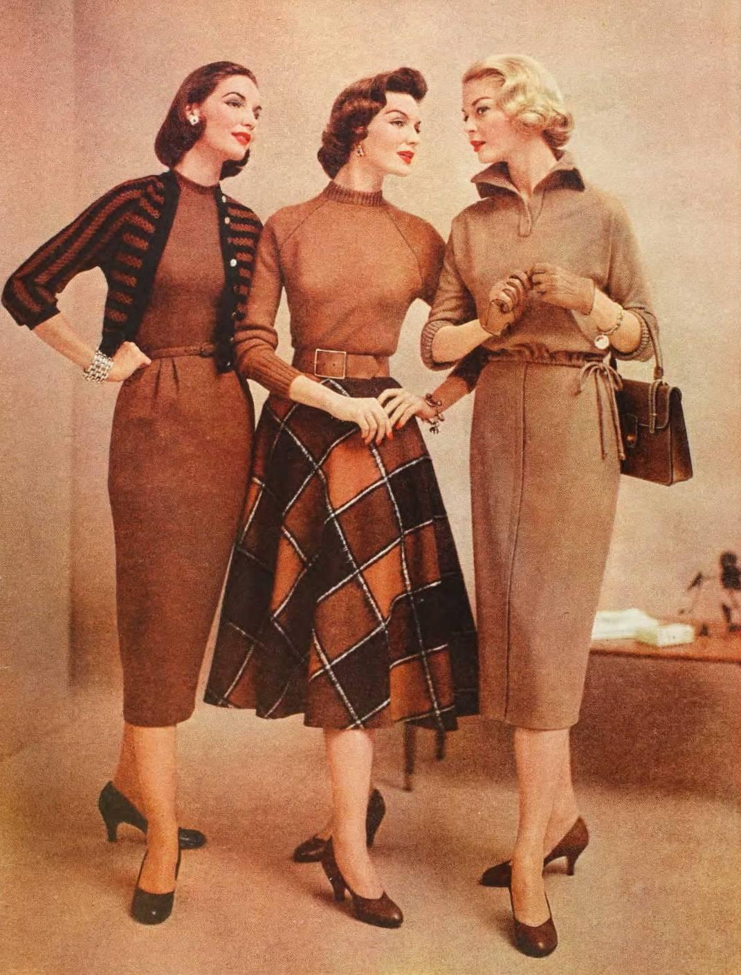 3 damer fra 1950'erne i pencil og swingkjoler