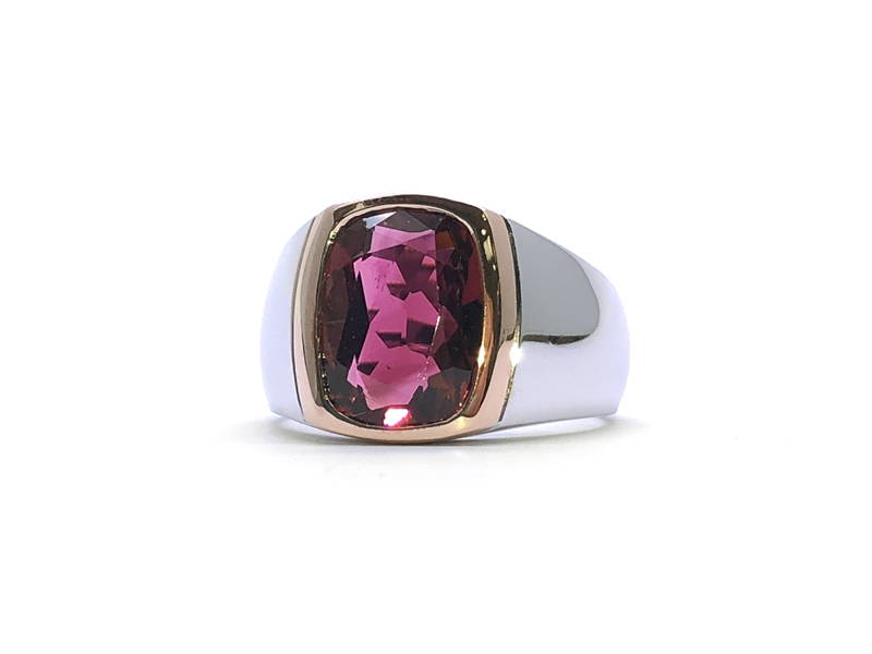 pink and white gold signet ring with tourmaline