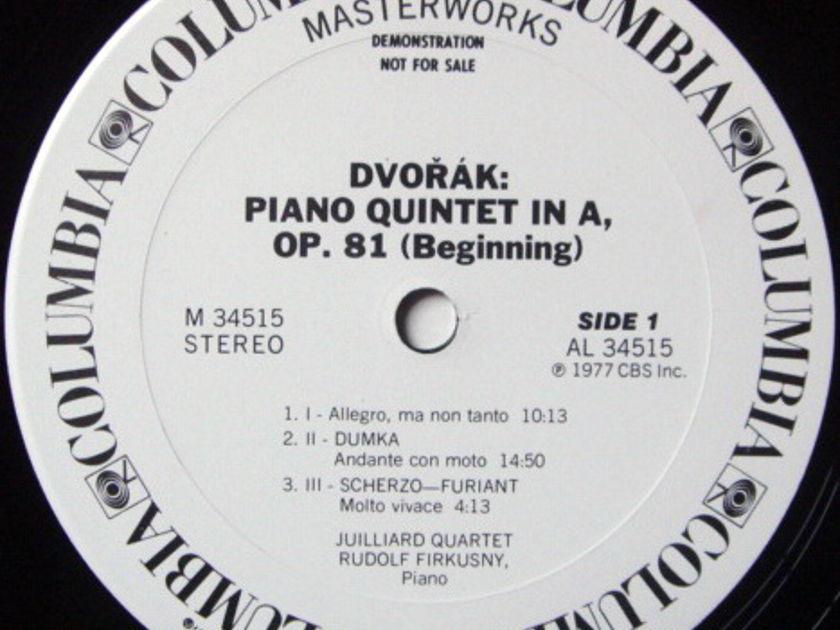 Columbia / JUILLIARD QT-FIRKUSNY, - Dvorak Piano Quintet, MINT, Rare 1st Press White Promo Copy!