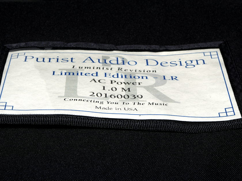 PURIST AUDIO DESIGN LUMINIST REVISION AC POWER CORD 6'