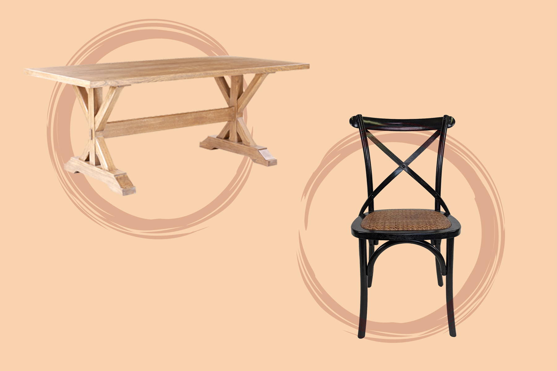 a trestle table and a black dining chair