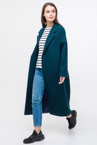 Женское пальто-халат изумрудного цвета из вареной шерсти