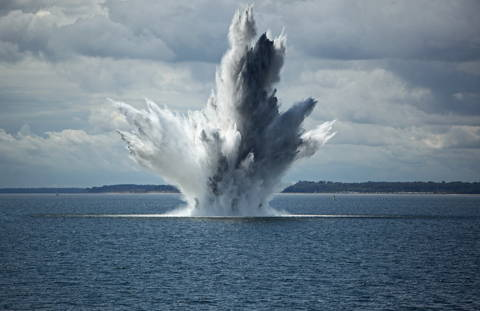 Huge Water Fountain caused by an below Surface Explosion of a Sea Mine in the Ocean stock photo Germany, Armed Forces, Army, Battle, Blue