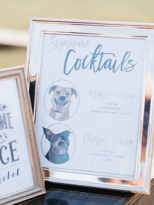 Wedding Signature Drink sign with Pet Portraits