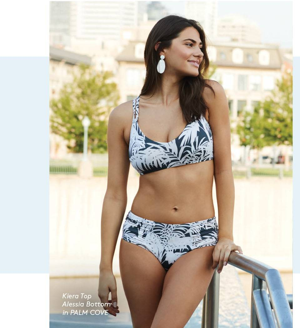 Sofia is wearing SKYE's Kiera top and Alessia bottom from the Palm Cove collection.