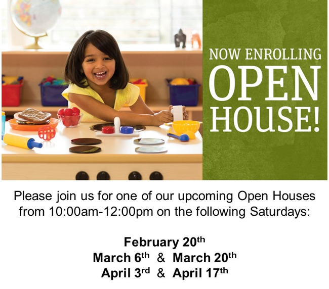 Open house now enrolling childcare daycare preschool