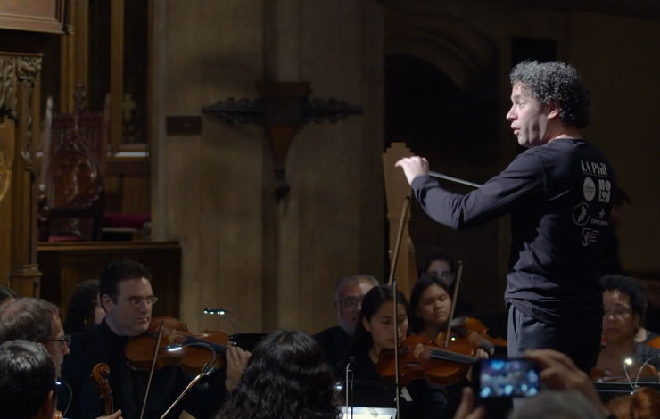 Gustavo Dudamel performing at The LA Phil's Neighborhood Concerts