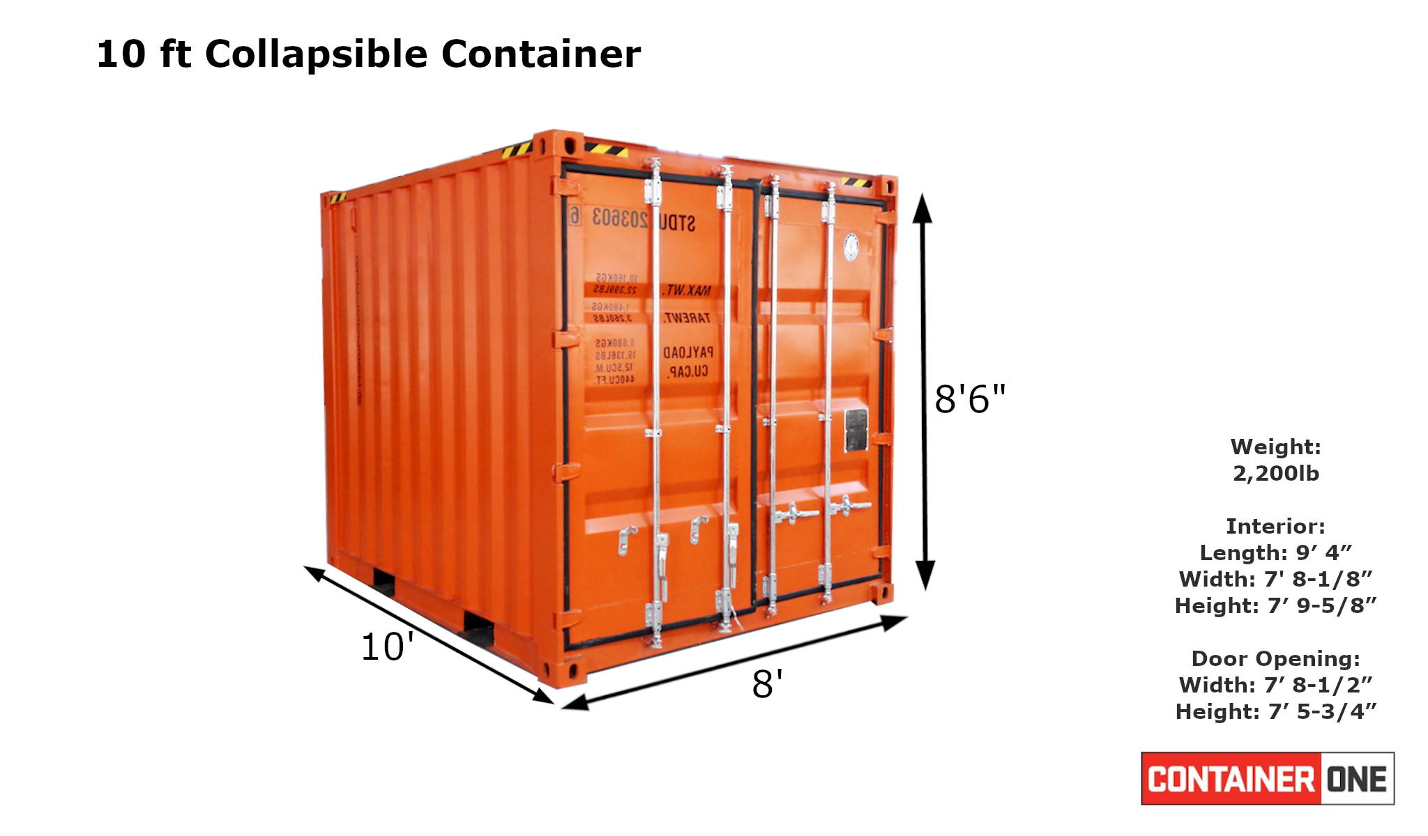 10 foot collapsible shipping container specifications