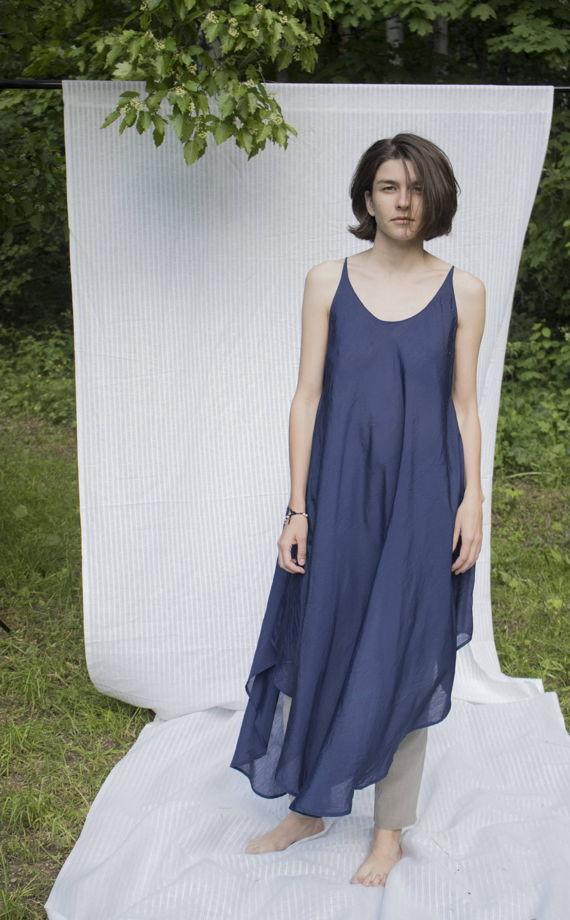 """Летящее летнее платье """"Конечно"""" синее"""