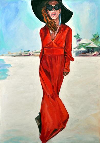 """Интерьерный Постер, """"Woman in red"""", 40x28 cm"""