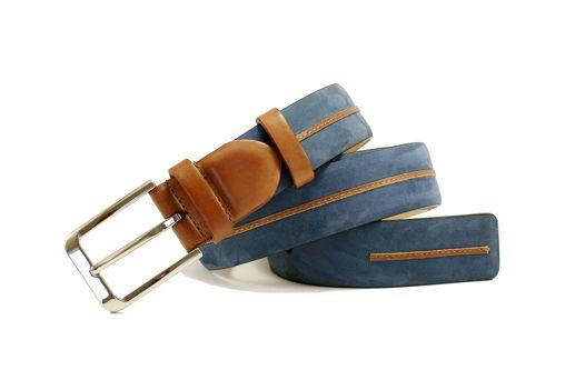 Мужской узкий ремень из нубука (синий)
