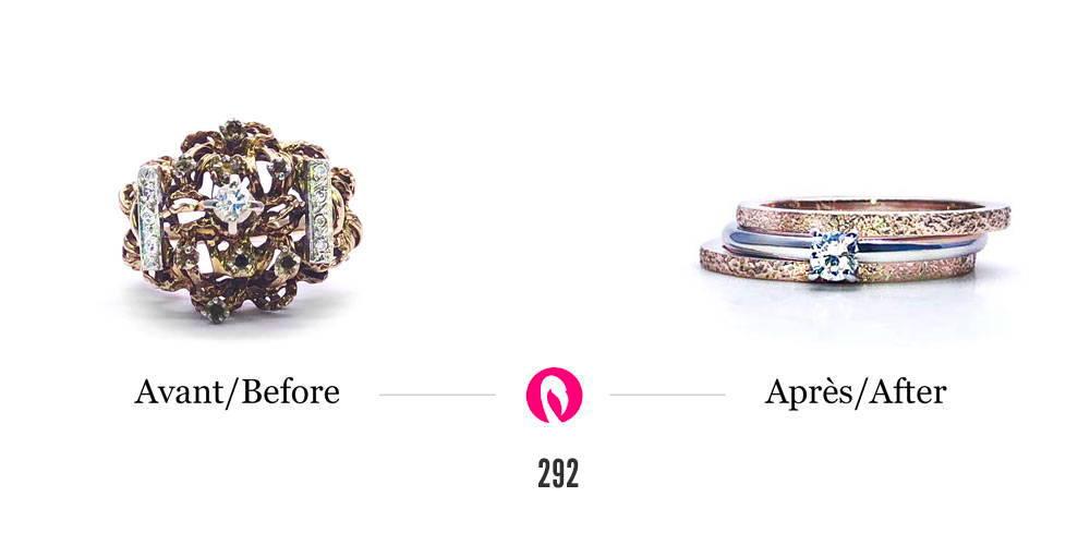 Transformation d'un bijou en or tressé avec diamants en alliance et bagues de fiançailles avec diamant