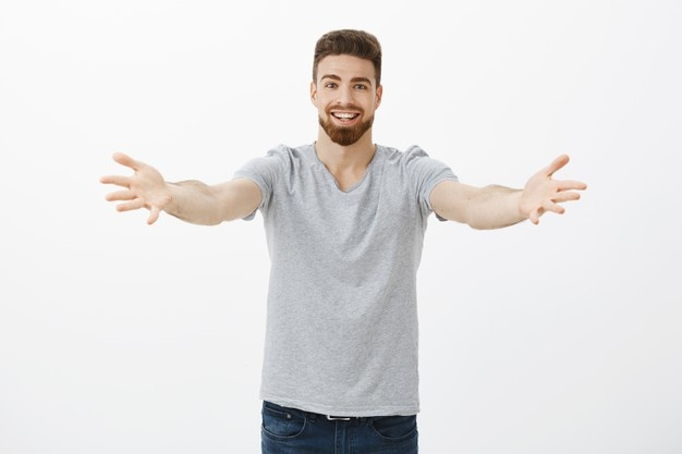 Come into my arms handsome enthusiastic and caring european boyfriend with beard and moustache pulling hands towards and smiling friendly wanting hug or cuddle welcoming friend 176420 22684