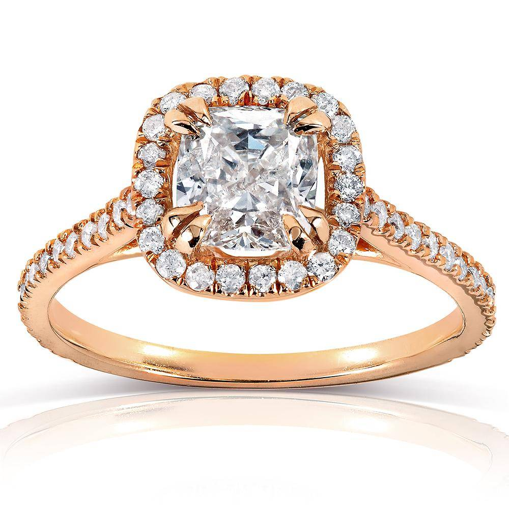 cushion diamond rose gold engagement ring