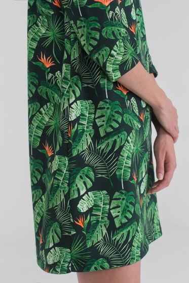 Платье с тропическими листьями