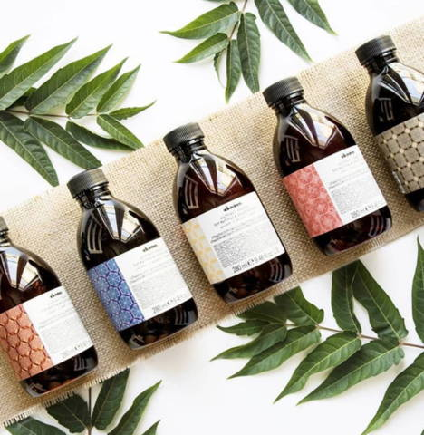 Davines Alchemic products lined up on a tan cloth with leaves in the background